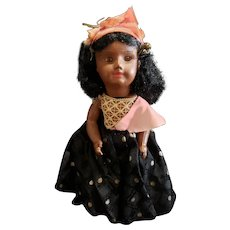 Early Composition Doll With Glass Eyes All Original