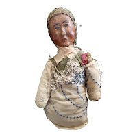 """Primitive Crib Baby Doll with Wooden Head 9"""""""