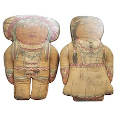 Early 1900's Printed Cloth Native American Indian Doll Set