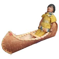 Neat Early Composition Native American Indian Doll in Birchbark Canoe