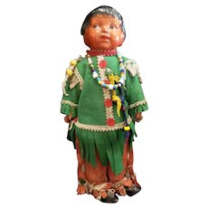 """1920's Composition Head Madame Hendren Indian Doll 13 1/2"""""""