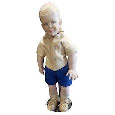 """1960's NIADA Artist Sharon Johnson Wee Devon Heavy Bisque Doll 16 1/4"""""""