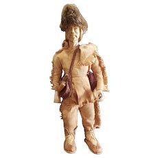 """Vintage Folk Art6 16"""" Carved Wood Lt. Henry Timberlake 1765 Doll"""
