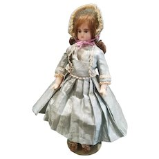 """Adorable Vintage 15"""" Doll Artist Wax Doll with Glass Eyes"""