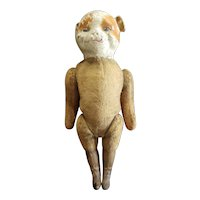 """Rare Early 1900's Composition & Excelsior Stuffed Character Doodle Dog 14"""""""