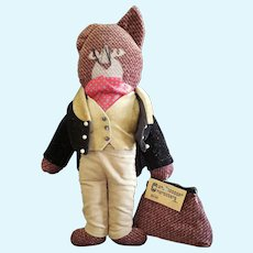 "Adorable 14 1/2"" Velvet & Tweed Carpetbagger Character Cat Doll"