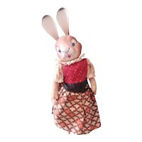 Early Paper Mache Bobble Head Bunny Rabbit Doll