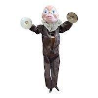 "Vintage 12 1/4"" Paper Mache Palmer Cox Push Tummy Cymbal Player Doll"