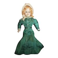 """Pretty Vintage PAper Mache Compo Doll with Glass Eyes Leather Body 17"""""""
