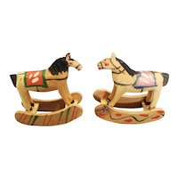 Lot of 2 Made  in Italy Painted Wooden Rocking Horses for Doll House