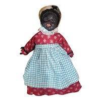 """Early Paper Mache Doll with Fixed Glass Eyes 10 1/2"""""""