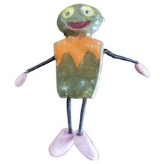 Vintage Halloween Painted Bisque Creature Pin with Springy Arms & Legs