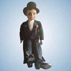 "Large 31"" Vintage Charlie McCarthy Compo Doll"