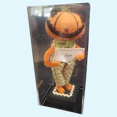 """Adorable Teddy Bear Artist Halloween Felt BOO Pumpkin Character 5"""""""