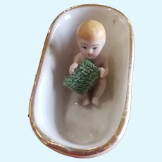 Vintage Bisque Bathing Baby Doll House Doll in Bathtub
