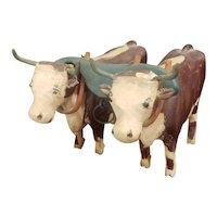 Vintage Folk Art Carved Wood Cattle Set with Yoke For Doll or Schoenhut Display