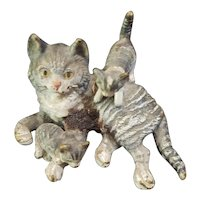 Vintage Miniature Painted Metal Cat with Kittens for Doll House