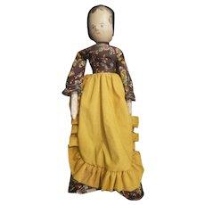 """Vintage Grodnertal Dressed Wood Wooden Peg Doll 12"""""""