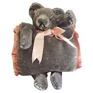 """Vintage 11"""" Grey Mohair Teddy Bear Muff"""