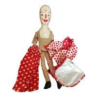 """Vintage WPA Paper Mache Composition Clown Doll 22"""""""