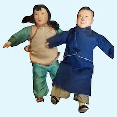 """Neat Vintage Asian Composition Doll Pair 12 1/4"""""""