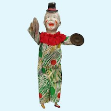 Neat Vintage Paper Mache Head Push Tummy Cymbal Clown Doll