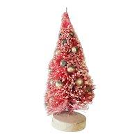 "Vintage 8"" Red Bottle Brush Christmas Tree for Doll House"