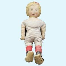 "Wonderful Antique Large 25"" Printed Cloth Fabric Mills Doll"