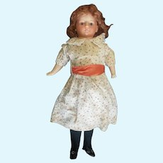 """Large 27"""" Paper Mache Composition Doll With Glass Eyes"""