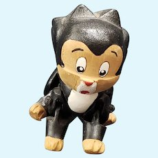 Adorable Vintage Carved Jointed Wool Disney Pinocchio Figaro Cat
