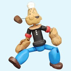 """Adorable Vintage Carved Jointed Wooden Popeye Doll 9"""""""