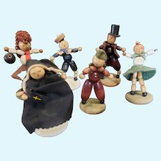 Lot of  Beaded Wood Doll Lot Abraham Lincoln Nun Bowler Sailor