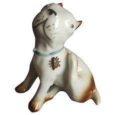 Vintage German Dog Scratching at Fly Doll Friend