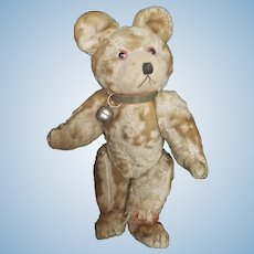 Vintage Silk Plush Baby Teddy Bear with Bell