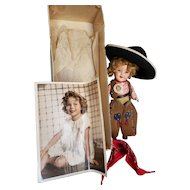 "Rare 1934 Ideal 11"" Shirley Temple Doll as Texas Ranger Cowgirl"