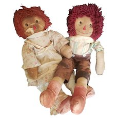 Vintage Folk Art Raggedy Andy Doll Pair with Shoe button Eyes