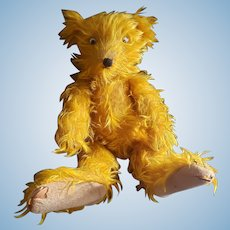 Comical Vintage Googly Eye Mohair Teddy Bear with Big Feet