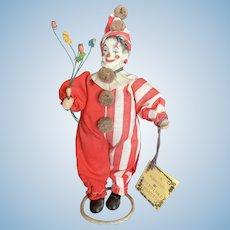 One of a Kind Barbara Markus Bisque Head Clown Dollhouse Doll
