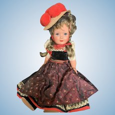 "Lovely 15 1/2"" Vintage Celluloid German Schmider Doll"