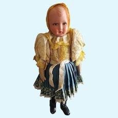 """Fabulous Vintage 17"""" Celluloid & Cloth Polish Doll"""