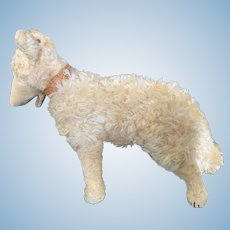 Vintage String Mohair Sheep Dog with Glass Eyes