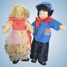 "Vintage Georgene 15"" Pressed Cloth Face Doll Lot"