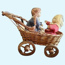 Antique Early 1900's Automaton Paper Mache Dolls in Buggy Toy