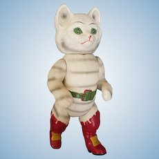 Wonderful 1940's Celluloid Puss n Boots Doll 11""