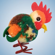 1940's Steiff Pom Pom Wool Rooster Chicken with Metal Feet