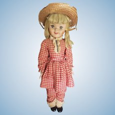 "1960's Uneeda 30"" Playpal Pollyanna Doll All Original"