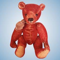 "Vintage Lynn Gatto Antiqued Red Mohair Teddy Bear 9 1/2"""