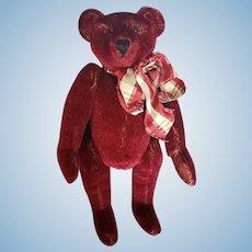 "Vintage Distressed Burgundy Mohair Teddy Bear 9"""