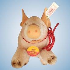 Vintage Steiff 2000 Happy Lucky Mohair Pig