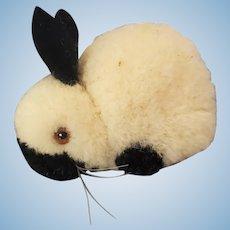 Vintage Steiff Wool Pom Pom Black and White Rabbit